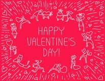 Tarjeta de felicitación de Valentine Day con la gente con símbolo de los corazones Amor Foto de archivo