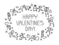 Tarjeta de felicitación de Valentine Day con la gente con símbolo de los corazones Amor Imagen de archivo