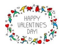 Tarjeta de felicitación de Valentine Day con la gente con símbolo de los corazones Amor Fotografía de archivo libre de regalías