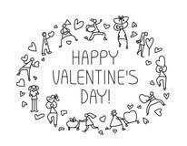 Tarjeta de felicitación de Valentine Day con la gente con símbolo de los corazones Amor Imagenes de archivo