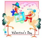 Tarjeta de felicitación de Valentine Day del santo con un par de amantes lindos de la cigüeña Impresión moderna Invitación agrada stock de ilustración
