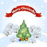 Tarjeta de felicitación Vector el ejemplo del día de fiesta con el árbol de navidad del paisaje del bosque del invierno, las niev Fotografía de archivo libre de regalías