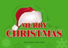 Tarjeta de felicitación verde de la Navidad stock de ilustración