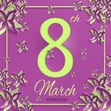 Tarjeta de felicitación verde púrpura del día del ` s de las mujeres Foto de archivo libre de regalías