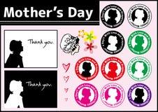 Tarjeta de felicitación y sello del icono Sistema feliz del día del ` s de la madre Ilustración del vector stock de ilustración