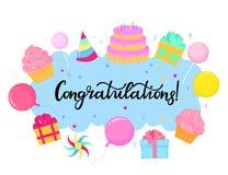 Tarjeta de felicitaci?n del cumplea?os Poner letras a la enhorabuena Torta, caramelo, globo, magdalena ilustración del vector