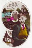 Tarjeta de felicitación antigua de la postal, 9 años del muchacho Foto de archivo libre de regalías