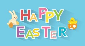Tarjeta de felicitación colorida de Pascua del pollo de Bunny Painted Eggs New Born del conejo de la bandera feliz del día de fie Fotografía de archivo libre de regalías