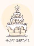 Tarjeta de felicitación con la torta de cumpleaños grande Imagen de archivo libre de regalías
