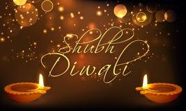 Tarjeta de felicitación con las lámparas encendidas para Diwali feliz Imágenes de archivo libres de regalías