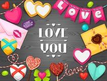 Tarjeta de felicitación con los corazones, objetos, decoraciones Imagen de archivo libre de regalías