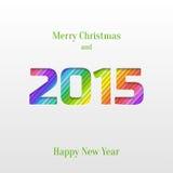 Tarjeta de felicitación creativa de la Feliz Año Nuevo 2015 Imagen de archivo libre de regalías