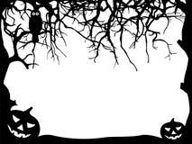 Tarjeta de felicitación de Halloween - silueta del marco - formas negras Foto de archivo libre de regalías