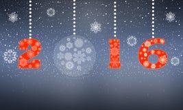 Tarjeta de felicitación de la Feliz Año Nuevo en 2016 de los copos de nieve Fotografía de archivo libre de regalías