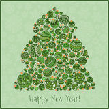Tarjeta de felicitación de la Feliz Año Nuevo Árbol de navidad del illustra de las bolas Fotos de archivo