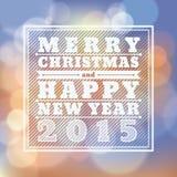 Tarjeta 2015 de felicitación de la Feliz Navidad y de la Feliz Año Nuevo Imagenes de archivo