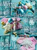 Tarjeta de felicitación de la Feliz Navidad y de la Feliz Año Nuevo Diseño del día de fiesta de Navidad Foto de archivo