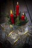 Tarjeta de felicitación de la Navidad con las velas Imagen de archivo libre de regalías