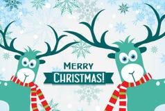 Tarjeta de felicitación de la Navidad con un ciervo, vector Fotos de archivo libres de regalías