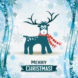 Tarjeta de felicitación de la Navidad con un ciervo, vector Fotografía de archivo