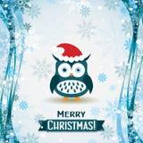 Tarjeta de felicitación de la Navidad de la plantilla con un búho, vector Imagen de archivo