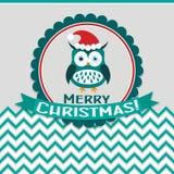 Tarjeta de felicitación de la Navidad de la plantilla con un búho, vector Fotografía de archivo