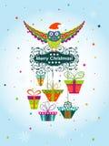 Tarjeta de felicitación de la Navidad de la plantilla con un búho y los regalos, vector Imagenes de archivo