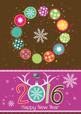 Tarjeta de felicitación de la Navidad de la plantilla con un ciervo Fotos de archivo libres de regalías