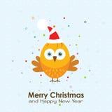 Tarjeta de felicitación de la Navidad de la plantilla con un gallo, vector Fotografía de archivo libre de regalías
