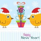 Tarjeta de felicitación de la Navidad de la plantilla con un gallo, vector Fotografía de archivo