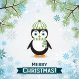 Tarjeta de felicitación de la Navidad de la plantilla con un pingüino Imagen de archivo libre de regalías