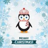 Tarjeta de felicitación de la Navidad de la plantilla con un pingüino Fotografía de archivo libre de regalías