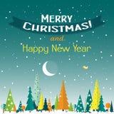 Tarjeta de felicitación de la Navidad de la plantilla con un árbol Imagenes de archivo