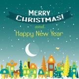 Tarjeta de felicitación de la Navidad de la plantilla con un árbol de navidad y una casa Fotos de archivo