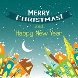 Tarjeta de felicitación de la Navidad de la plantilla con un árbol de navidad y una casa Fotos de archivo libres de regalías