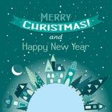 Tarjeta de felicitación de la Navidad de la plantilla con un árbol de navidad y una casa Imagen de archivo