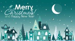 Tarjeta de felicitación de la Navidad de la plantilla con un árbol de navidad y una casa Imágenes de archivo libres de regalías