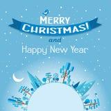 Tarjeta de felicitación de la Navidad de la plantilla con un árbol, vector Fotos de archivo