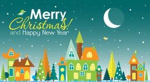 Tarjeta de felicitación de la Navidad de la plantilla con un árbol y una casa, vector Foto de archivo