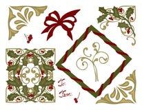 Tarjeta de felicitación de la Navidad Holly Bows y esquinas Fotografía de archivo libre de regalías