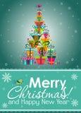 Tarjeta de felicitación de la Navidad, vector Fotografía de archivo libre de regalías