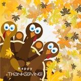 Tarjeta de felicitación de la plantilla con un pavo feliz de la acción de gracias Imagen de archivo libre de regalías