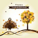 Tarjeta de felicitación de la plantilla con un pavo feliz de la acción de gracias, vector Imagen de archivo