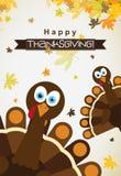 Tarjeta de felicitación de la plantilla con un pavo feliz de la acción de gracias, vector Foto de archivo