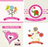 Tarjeta de felicitación de la plantilla, día de la madre, vector Foto de archivo
