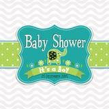 Tarjeta de felicitación de la plantilla - fiesta de bienvenida al bebé, vector Imagen de archivo