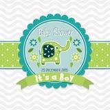 Tarjeta de felicitación de la plantilla - fiesta de bienvenida al bebé, vector Imagenes de archivo