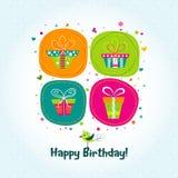 Tarjeta de felicitación de la plantilla, regalo, vector Fotografía de archivo