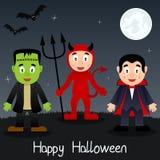 Tarjeta de felicitación de los monstruos de Halloween Fotografía de archivo libre de regalías