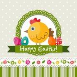 Tarjeta de felicitación de Pascua de la plantilla, polluelo, vector Fotografía de archivo